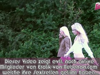 private outdoor threesome with skinny german amateur teens