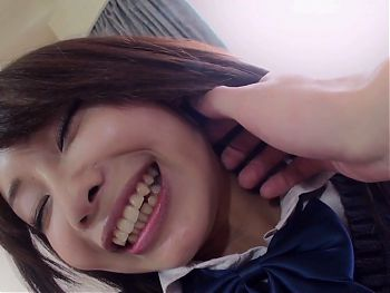 cute Japanese schoolgirl with hairy pussy gets creampie fuck