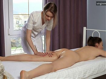 Vera Funtik and her first time virgin massage