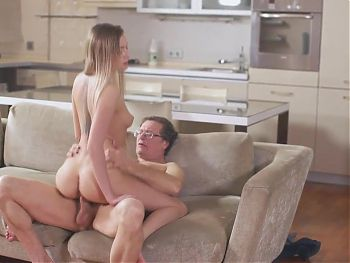 OLD4K. Aroused nymph drags her experienced partner into hot sex
