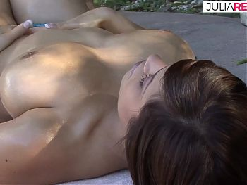 First sunbathing, then hard anal fuck with a big cock