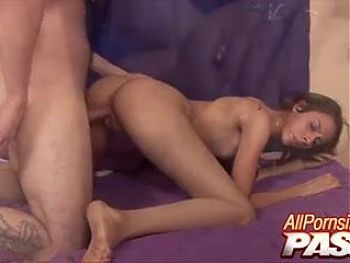 Slim Teen With Pigtails Gets Hot Doggystyle Fuck