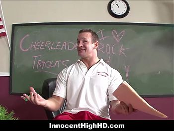 Petite Hot High School Cheerleader Fucked By Coach In Class